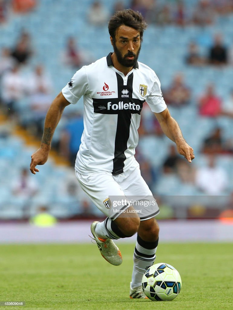 Mattia Cassani of Parma FC in action during the pre-season friendly match between Aston Villa and Parma at Villa Park on August 9, 2014 in Birmingham, England.