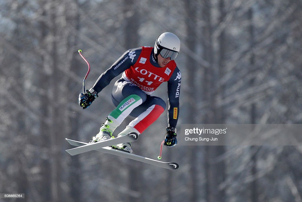 Mattia Casse of Italy competes in the Men's Super G Finals during the 2016 Audi FIS Ski World Cup at the Jeongseon Alpine Centre on February 7, 2016 in Jeongseon-gun, South Korea.