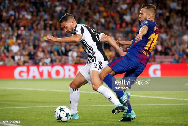 Mattia De Sciglio and Jordi Alba during Champions League match between FC Barcelona v RCD Juventus in Barcelona on September 12 2017
