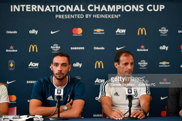 Mattia De Sciglio and Massimiliano Allegri attend a press conference during the Juventus Summer Tour on July 21 2017 in New York City