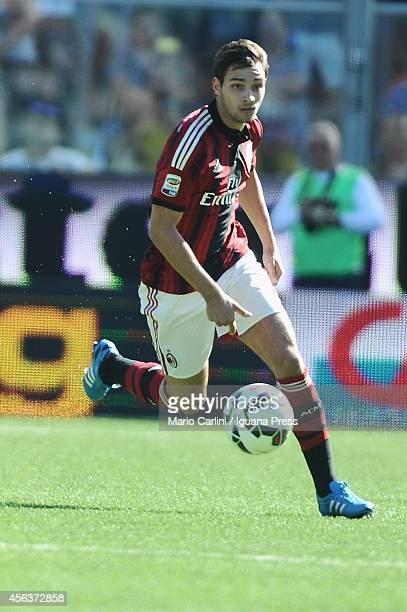 Mattia De Sciglio of AC Milan in action during the Serie A match between AC Cesena and AC Milan at Dino Manuzzi Stadium on September 28 2014 in...