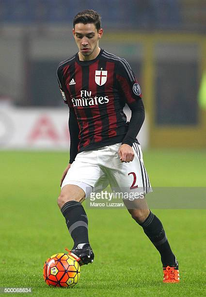 Mattia De Sciglio of AC Milan in action during the TIM Cup match between AC Milan and FC Crotone at Stadio Giuseppe Meazza on December 1 2015 in...