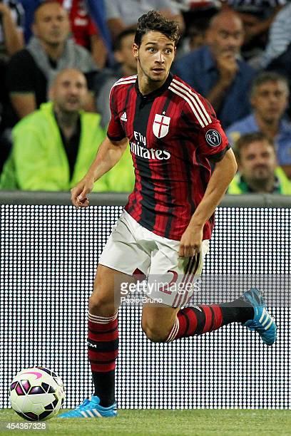 Mattia De Sciglio of AC Milan in action during the TIM Preseason Tournament between US Sassuolo FC Juventus and AC Milan at Mapei Stadium Citta' del...