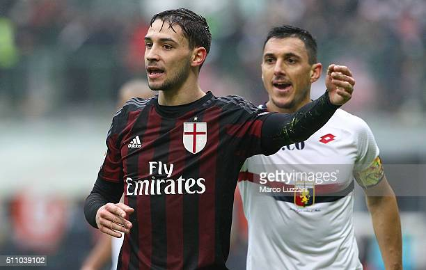 Mattia De Sciglio of AC Milan reacts during the Serie A match between AC Milan and Genoa CFC at Stadio Giuseppe Meazza on February 14 2016 in Milan...