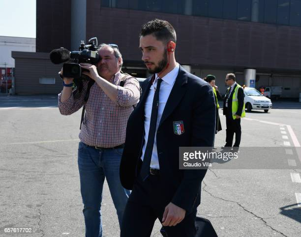 Mattia De Sciglio of Italy arrives to Florence Airport on March 25 2017 in Florence Italy