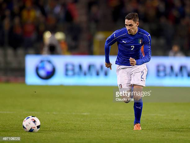 Mattia De Sciglio of Italy in action during the international friendly match between Belgium and Italy at King Baudouin Stadium on November 13 2015...