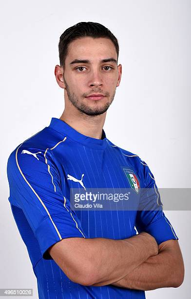 Mattia De Sciglio of Italy poses during the official portrait session at Coverciano on November 10 2015 in Florence Italy