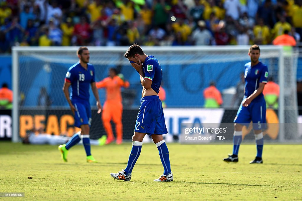 Mattia De Sciglio of Italy shows his dejection after the 0-1 defeat in the 2014 FIFA World Cup Brazil Group D match between Italy and Uruguay at Estadio das Dunas on June 24, 2014 in Natal, Brazil.