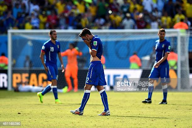 Mattia De Sciglio of Italy shows his dejection after the 01 defeat in the 2014 FIFA World Cup Brazil Group D match between Italy and Uruguay at...