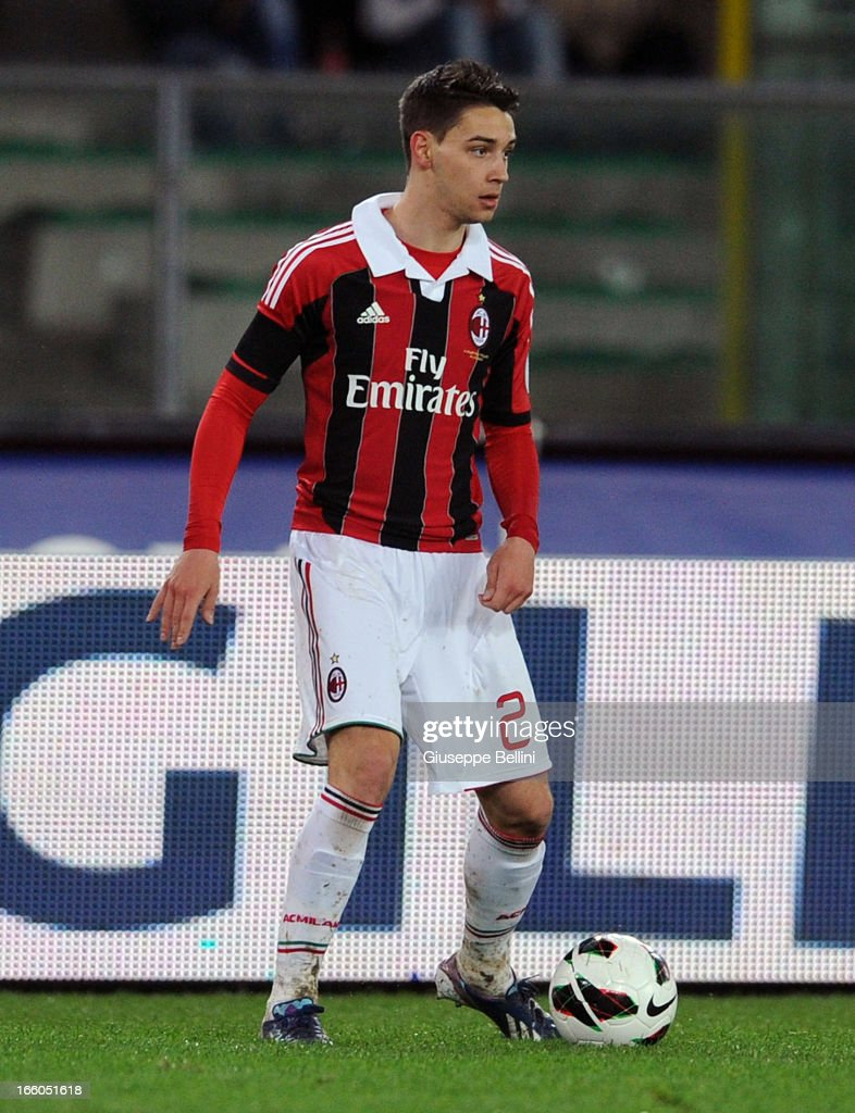 Mattia De Sciglio of Milan in acton during the Serie A match between AC Chievo Verona and AC Milan at Stadio Marc'Antonio Bentegodi on March 30, 2013 in Verona, Italy.