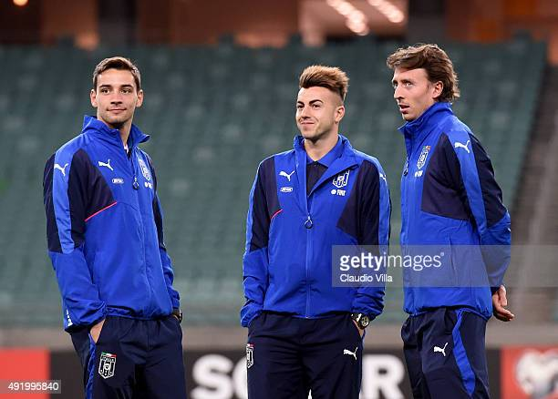 Mattia De Sciglio Stephan El Shaarawy and Riccardo Montolivo of Italy attend the training session on October 9 2015 in Baku Azerbaijan