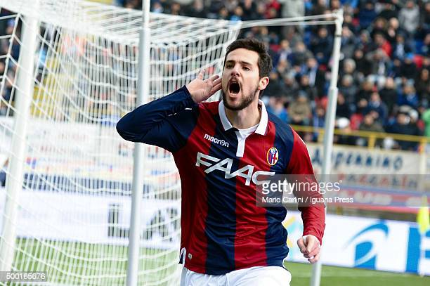 Mattia Desrtro of Bologna FC celebrates after scoring the opening goal during the Serie A match between Bologna FC and SSC Napoli at Stadio Renato...