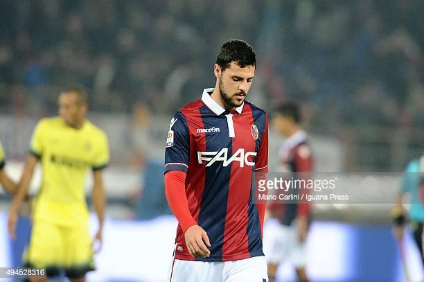 Mattia Destro# 10 0f Bologna FC shows his dejection at the end of the Serie A match between Bologna FC and FC Internazionale Milano at Stadio Renato...
