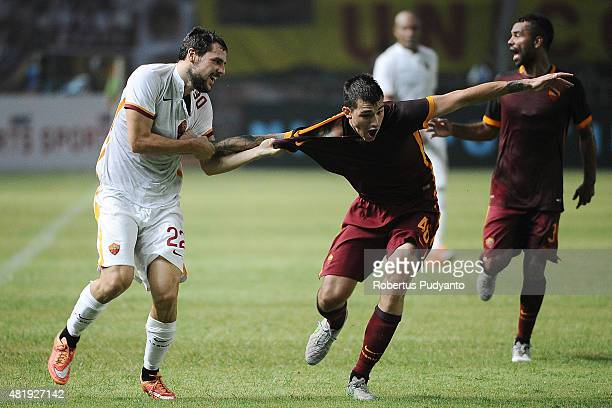 Mattia Destro and Alessio Romagnoli of AS Roma fight for the ball during the international friendly match between AS Roma A and AS Roma B at Gelora...