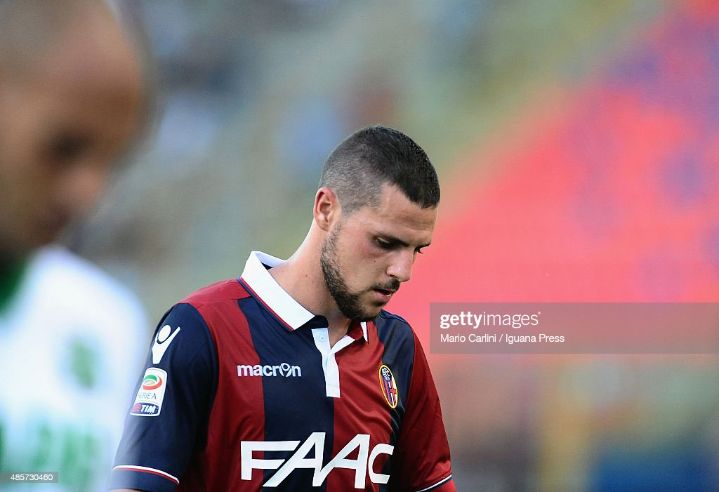 Mattia Destro looks on during the Serie A match between Bologna FC and US Sassuolo Calcio at Stadio Renato Dall'Ara on August 29 2015 in Bologna Italy