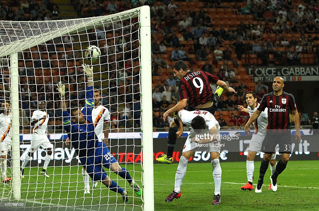 <a gi-track='captionPersonalityLinkClicked' href=/galleries/search?phrase=Mattia+Destro&family=editorial&specificpeople=5983870 ng-click='$event.stopPropagation()'>Mattia Destro</a> #9 of AC Milan scores a goal during the Serie a match between AC Milan and AS Roma at Stadio Giuseppe Meazza on May 9, 2015 in Milan, Italy.