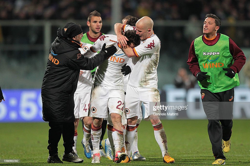 <a gi-track='captionPersonalityLinkClicked' href=/galleries/search?phrase=Mattia+Destro&family=editorial&specificpeople=5983870 ng-click='$event.stopPropagation()'>Mattia Destro</a> of AS Roma celebrates after scoring a goal during the TIM cup match between ACF Fiorentina and AS Roma at Artemio Franchi on January 16, 2013 in Florence, Italy.
