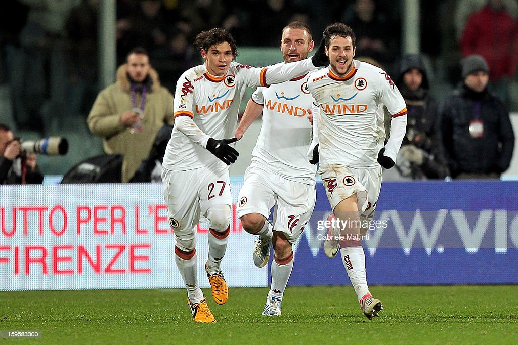 Mattia Destro of AS Roma celebrates after scoring a goal during the TIM cup match between ACF Fiorentina and AS Roma at Artemio Franchi on January 16, 2013 in Florence, Italy.