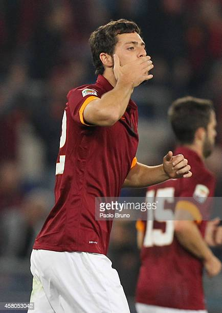 Mattia Destro of AS Roma celebrates after scoring the opening goal during the Serie A match between AS Roma and AC Cesena at Stadio Olimpico on...