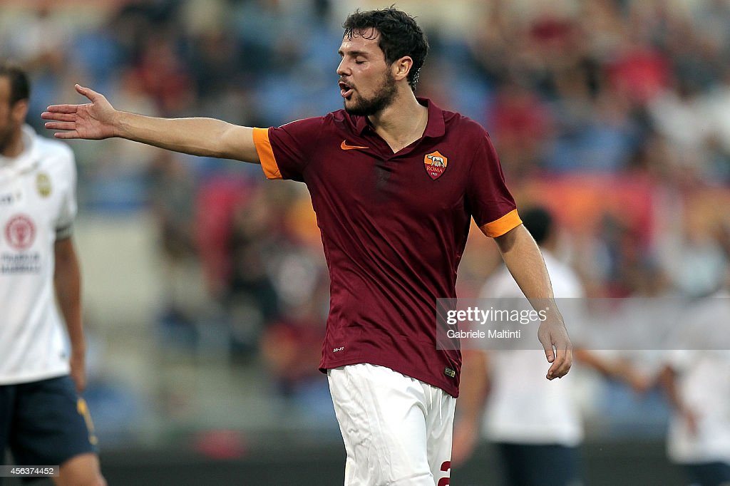 <a gi-track='captionPersonalityLinkClicked' href=/galleries/search?phrase=Mattia+Destro&family=editorial&specificpeople=5983870 ng-click='$event.stopPropagation()'>Mattia Destro</a> of AS Roma reacts during the Serie A match between AS Roma and Hellas Verona FC at Stadio Olimpico on September 27, 2014 in Rome, Italy.