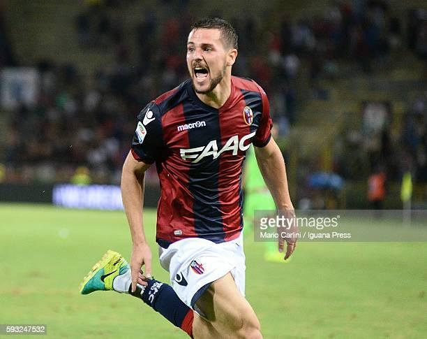 Mattia Destro of Bologna FC celebrates after scoring a goal during the Serie A match between Bologna FC and FC Crotone at Stadio Renato Dall'Ara on...