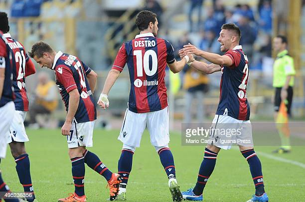 Mattia Destro of Bologna FC celebrates after scoring his team's second goal during the Serie A match between Bologna FC and Atalanta BC at Stadio...