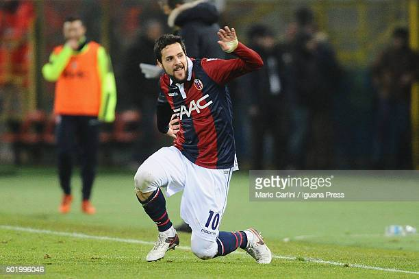 Mattia Destro of Bologna FC celebrates after scoring his team's second goal during the Serie A match between Bologna FC and Empoli FC at Stadio...