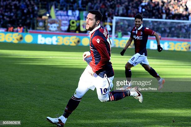 Mattia Destro of Bologna FC celebrates after scoring his team's second goal during the Serie A match between Bologna FC and SS Lazio at Stadio Renato...