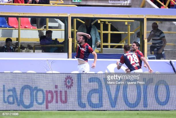 Mattia Destro of Bologna FC celebrates after scoring the opening goal during the Serie A match between Bologna FC and Udinese Calcio at Stadio Renato...