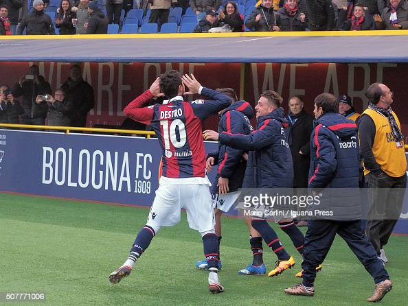 Mattia Destro of Bologna FC celebrates after scorings his team's third goal from the penalty spot during the Serie A match between Bologna FC and UC...