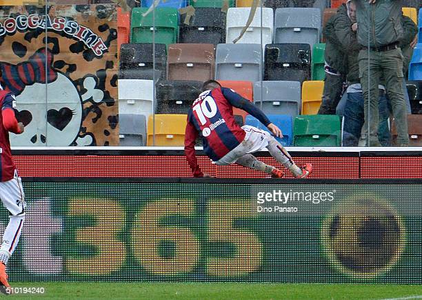 Mattia Destro of Bologna FC celebrates aftert scoring his opening goal during the Serie A match between Udinese Calcio and Bologna FC at Stadio...