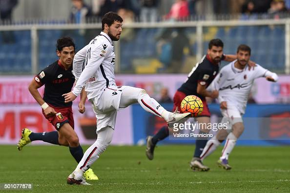 Mattia Destro of Bologna FC controls the ball during the Serie A match betweeen Genoa CFC v Bologna FC at Stadio Luigi Ferraris on December 12 2015...