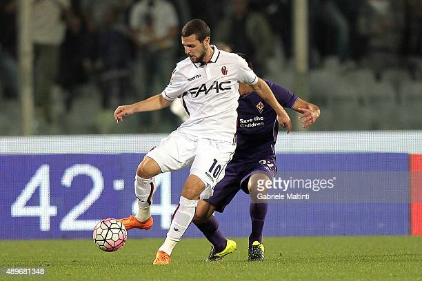Mattia Destro of Bologna Fc in action during the Serie A match between ACF Fiorentina and Bologna FC at Stadio Artemio Franchi on September 23 2015...
