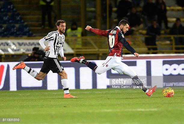Mattia Destro of Bologna FC in action during the Serie A match between Bologna FC and Juventus FC at Stadio Renato Dall'Ara on February 19 2016 in...