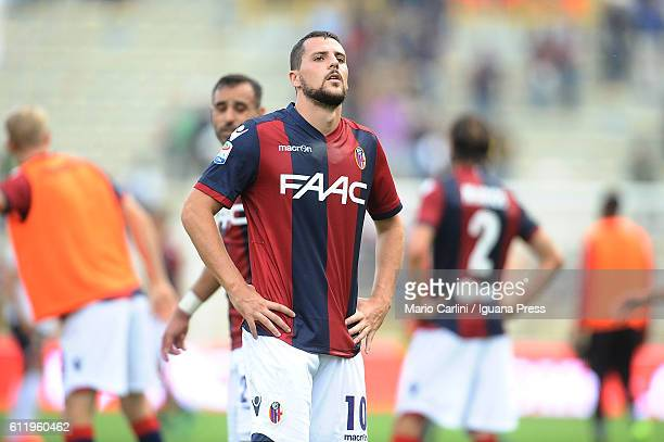 Mattia Destro of Bologna FC looks dejected at the end of the Serie A match between Bologna FC and Genoa CFC at Stadio Renato Dall'Ara on October 2...