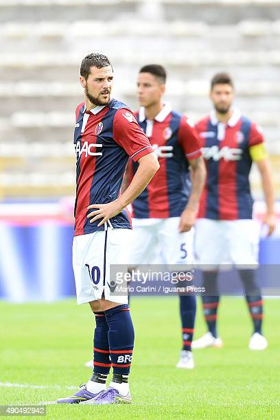 Mattia Destro of Bologna FC looks on during the Serie A match between Bologna FC and Udinese Calcio at Stadio Renato Dall'Ara on September 27 2015 in...