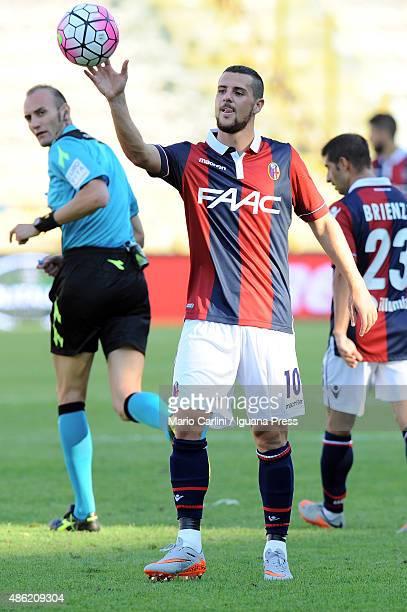 Mattia Destro of Bologna FC reacts during the Serie A match between Bologna FC and US Sassuolo Calcio at Stadio Renato Dall'Ara on August 29 2015 in...
