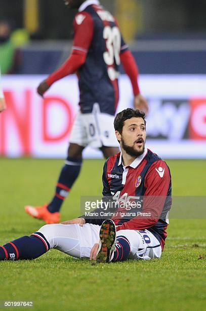 Mattia Destro of Bologna FC reacts during the Serie A match between Bologna FC and Empoli FC at Stadio Renato Dall'Ara on December 19 2015 in Bologna...