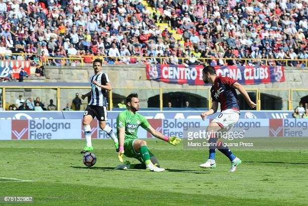 Mattia Destro of Bologna FC scores his second personal and his team's third goal during the Serie A match between Bologna FC and Udinese Calcio at...