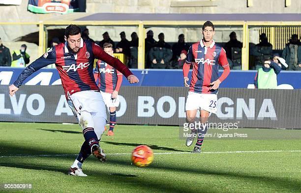Mattia Destro of Bologna FC scores his team's second goal during the Serie A match between Bologna FC and SS Lazio at Stadio Renato Dall'Ara on...