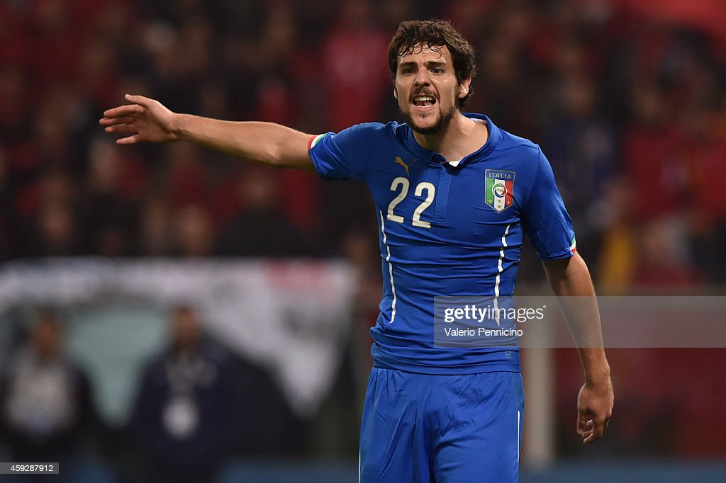 <a gi-track='captionPersonalityLinkClicked' href=/galleries/search?phrase=Mattia+Destro&family=editorial&specificpeople=5983870 ng-click='$event.stopPropagation()'>Mattia Destro</a> of Italy reacts during the International Friendly match between Italy and Albania at Luigi Ferraris on November 18, 2014 in Genoa, Italy.