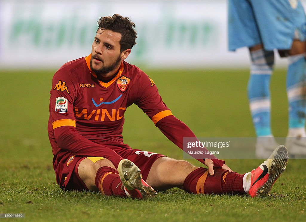 <a gi-track='captionPersonalityLinkClicked' href=/galleries/search?phrase=Mattia+Destro&family=editorial&specificpeople=5983870 ng-click='$event.stopPropagation()'>Mattia Destro</a> of Roma shows his dejection during the Serie A match between SSC Napoli and AS Roma at Stadio San Paolo on January 6, 2013 in Naples, Italy.