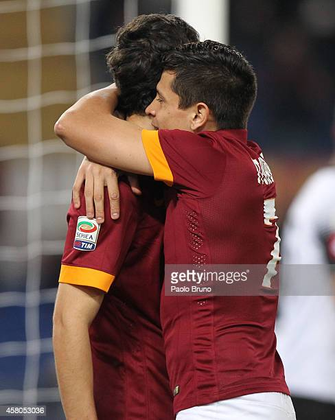Mattia Destro with his teammate Juan Iturbe of AS Roma celebrates after scoring the opening goal during the Serie A match between AS Roma and AC...