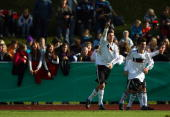 Mattia Maggio of Germany celebrates with his team mates after scoring 20 during the U16 international friendly match between Germany and Switzerland...