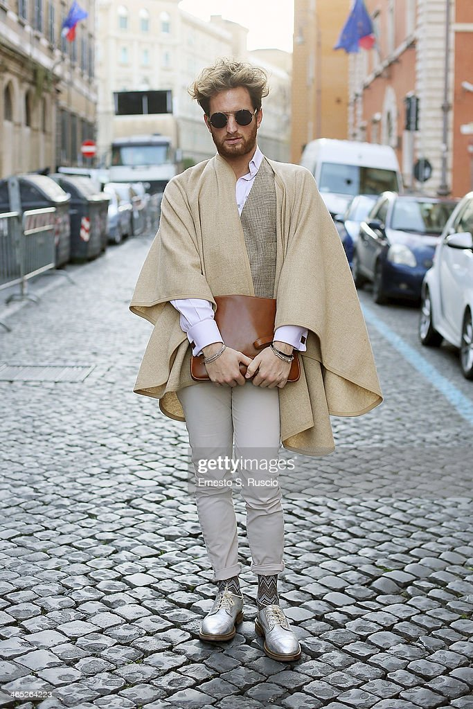 Mattia of Insaneinside.it wears Ralph Lauren gilet, Etro cufflinks, Missoni socks and Asos shoes on day 3 Rome Fashion Week Spring/Summer 2014, on January 26, 2014 in Rome, Italy.