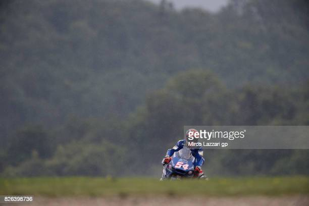 Mattia Pasini of Italy and Italtrans Racing Team heads down a straight during the MotoGp of Czech Republic Free Practice at Brno Circuit on August 4...