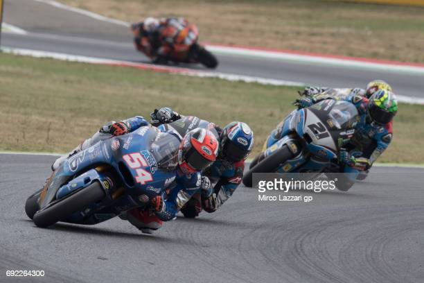 Mattia Pasini of Italy and Italtrans Racing Team leads the field during the Moto2 race during the MotoGp of Italy Race at Mugello Circuit on June 4...