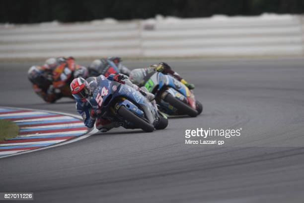 Mattia Pasini of Italy and Italtrans Racing Team leads the field during the Moto2 race during the MotoGp of Czech Republic Race at Brno Circuit on...