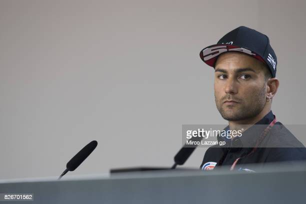Mattia Pasini of Italy and Italtrans Racing Team looks on during the press conference during the MotoGp of Czech Republic Qualifying at Brno Circuit...