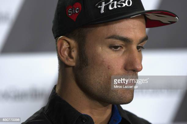 Mattia Pasini of Italy and Italtrans Racing Team looks on during the press conference during the MotoGp of Austria Qualifying at Red Bull Ring on...
